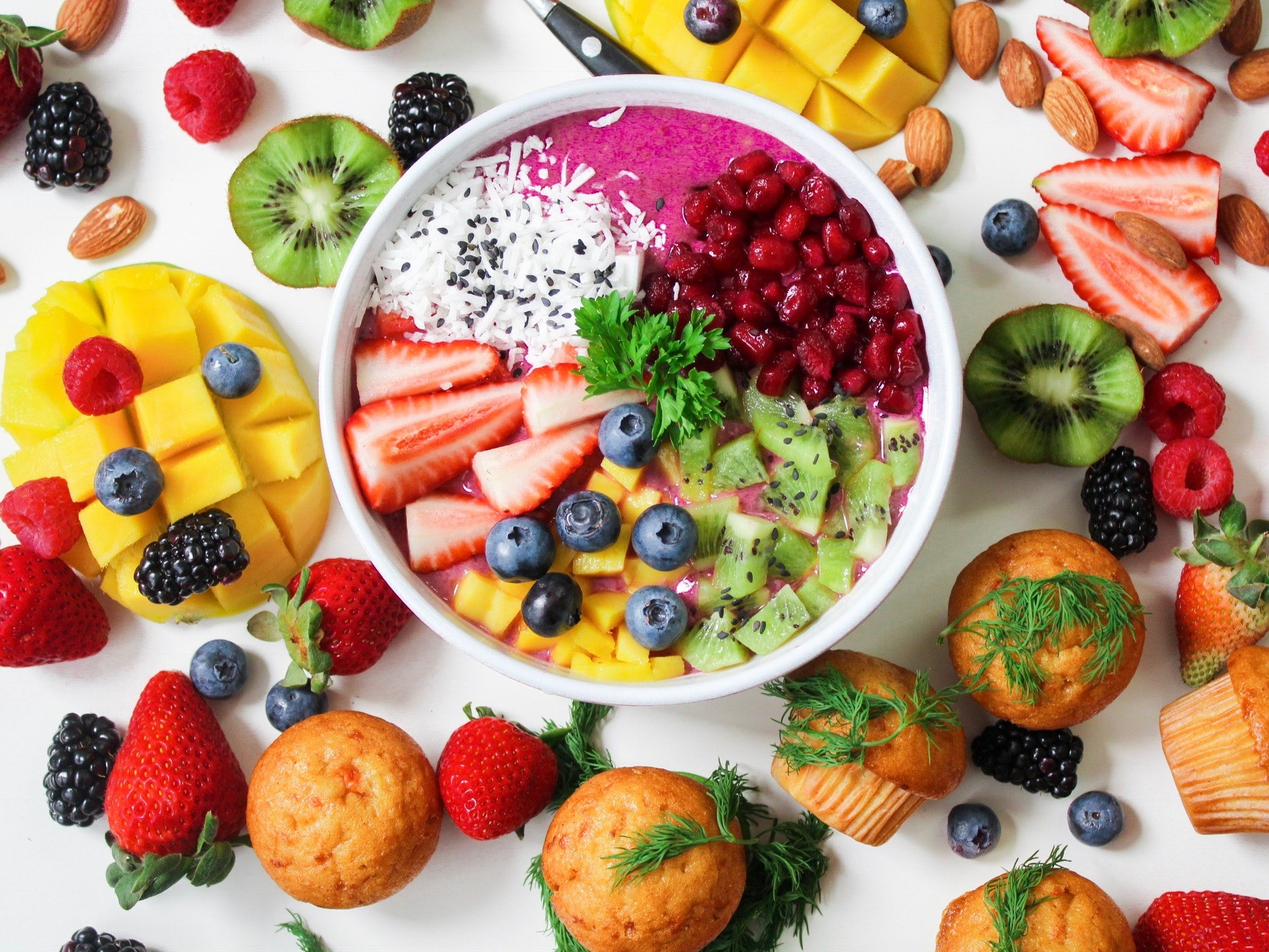a bowl of different fruit
